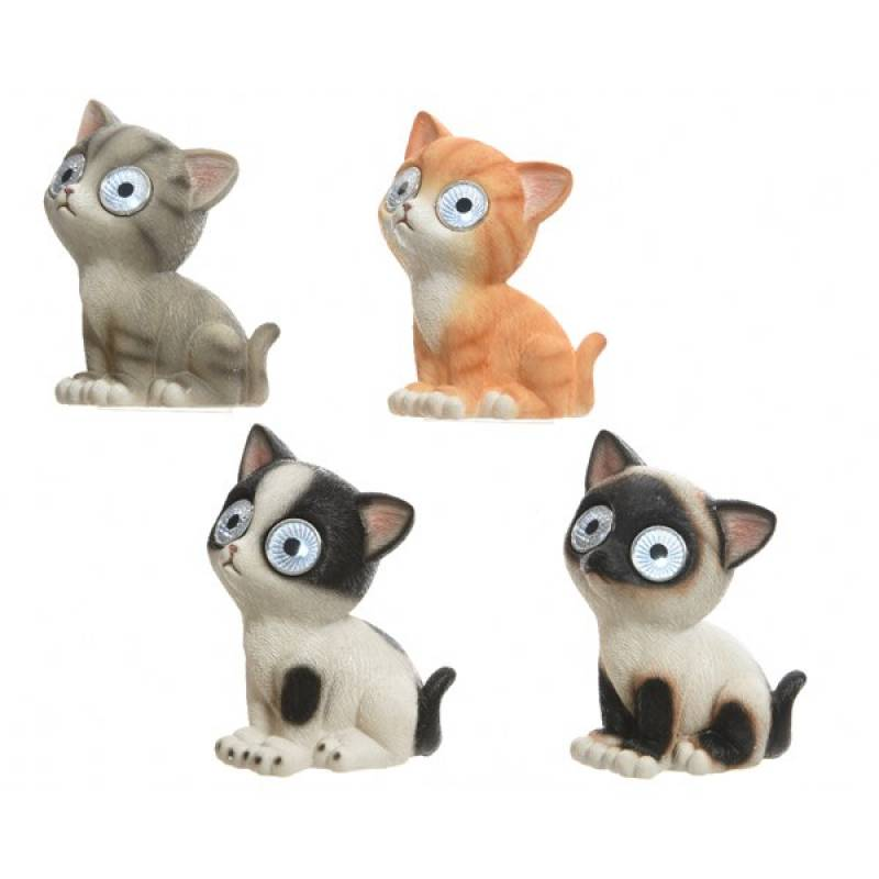 Solar figurines polyresin cats