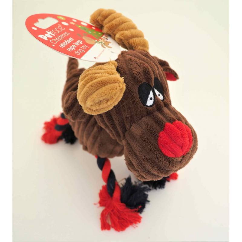 Petface Christmas Cord Reindeer with Rope Legs Squeaky Dog Toy