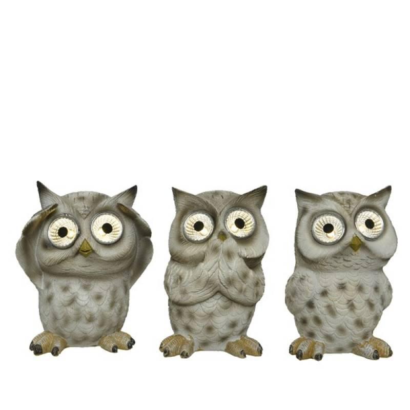 Solar figurines polyresin owls
