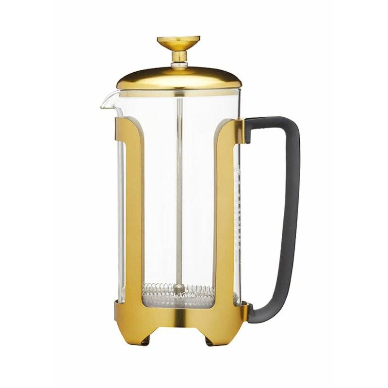 Le'Xpress Brass Finish Stainless Steel 8 Cup French Press Cafetiere