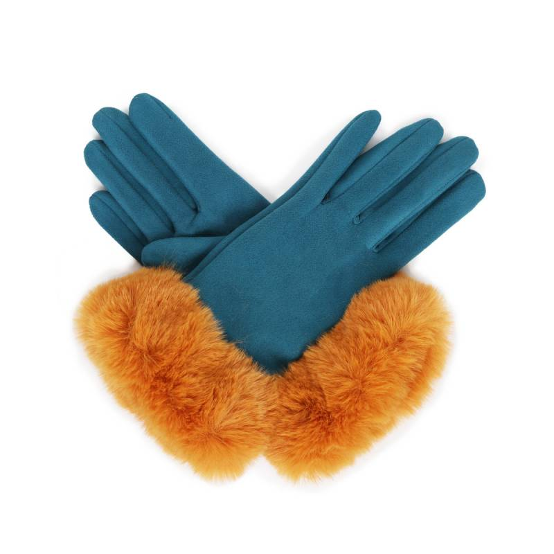 Bettina Faux Suede Gloves Teal/Mustard