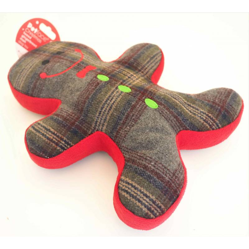 Petface Tweed Gingerbread Man Squeaky Dog Toy Large