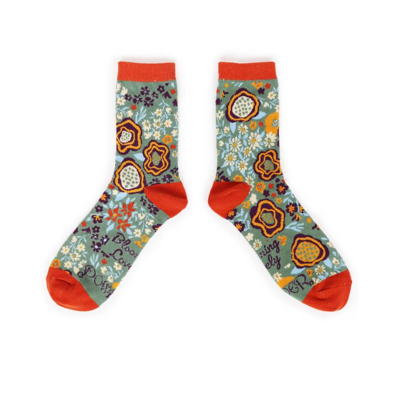 Abstract Floral Ankle Sock-Moss