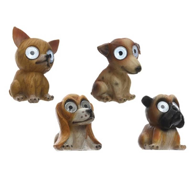 Solar figurines polyresin dogs