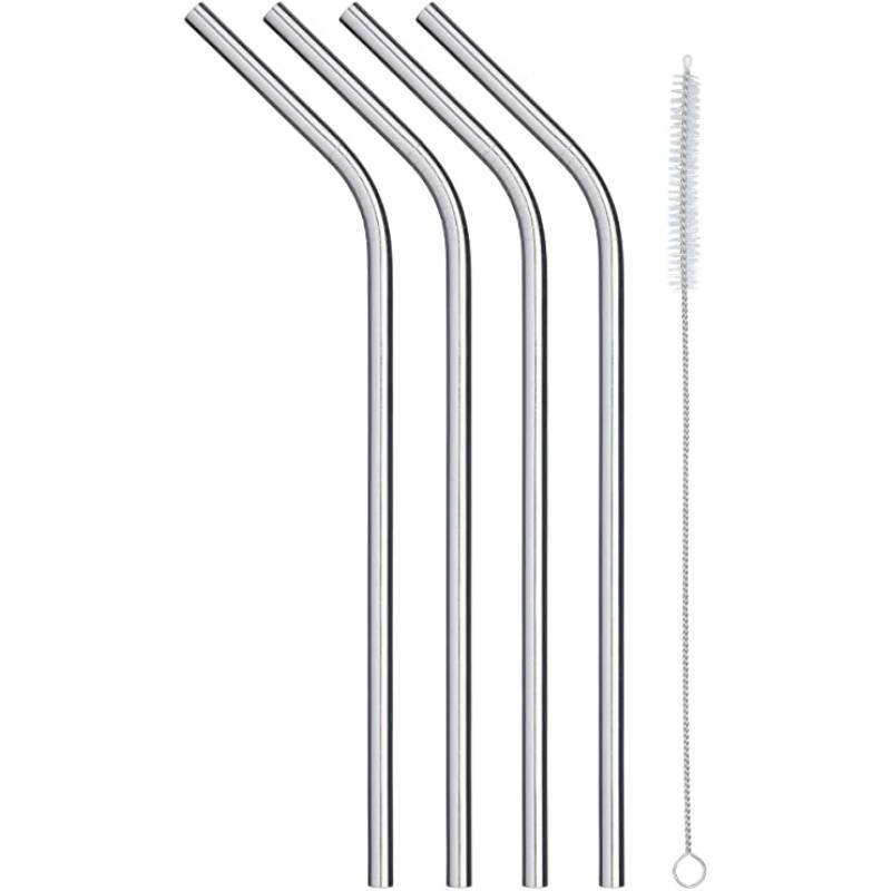 KitchenCraft Pack of Four Stainless Steel Reusable Drinks Straws