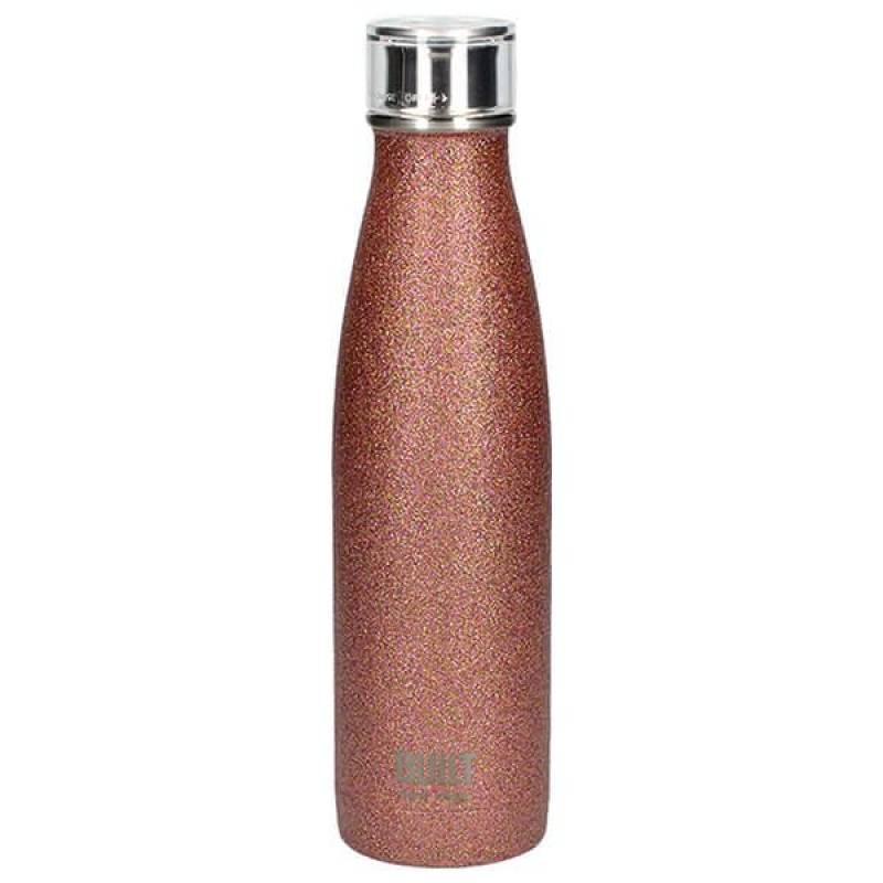 Built 500ml Double Walled Stainless Steel Water Bottle Rose Gold Glitter