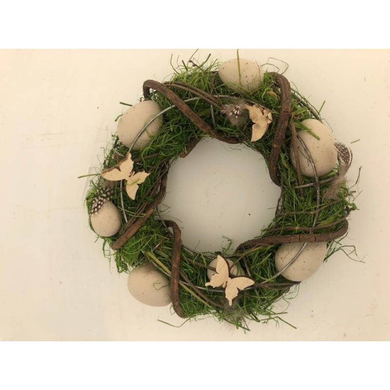 Easter Wreath with Eggs and Butterflies