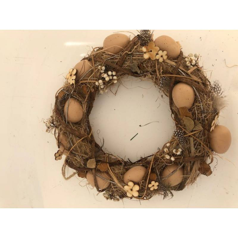 Twig Wreath with Eggs and Feathers