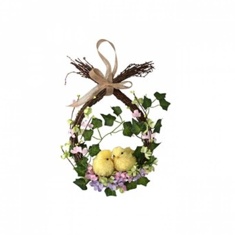 Twig Wreath with Chicks and Flowers