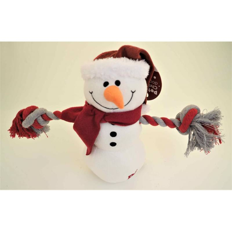 Petface Christmas Snowman with Rope Arms Squeaky Dog Toy