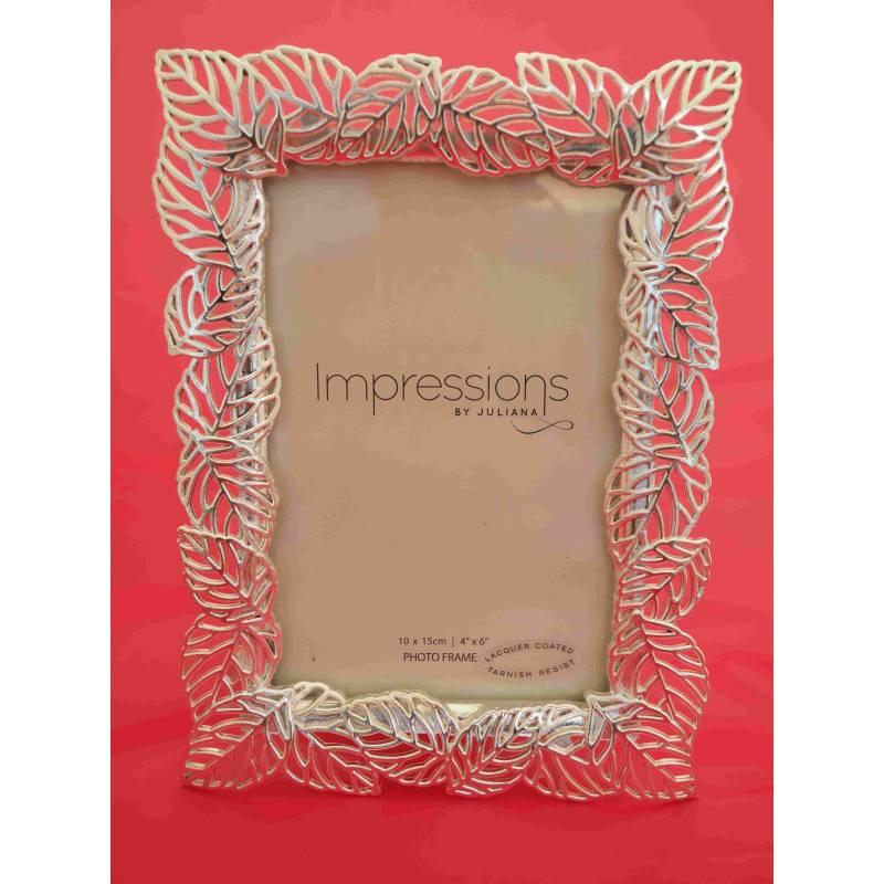 S/Plate Filigree Leaf Photo Frame